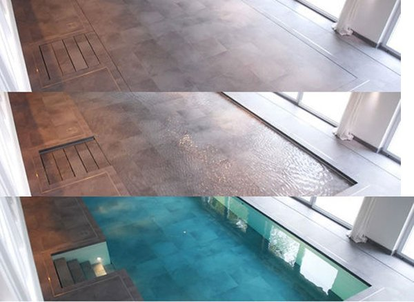 Hydrofloors swimming pool with movable floors for Movable swimming pool floor australia